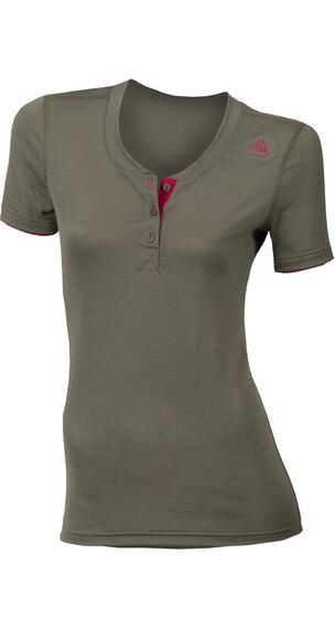 Aclima W's Lightwool Henley Shirt Ranger Green/Persian Red